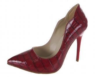 Дамски елегантни обувки на ток еко кожа/лак червени URFU-20748