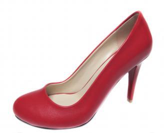 Дамски елегантни обувки на ток еко кожа червени EKJC-20750