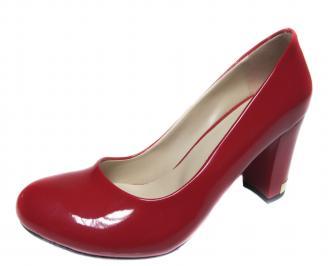 Дамски елегантни обувки на ток еко кожа/лак червени