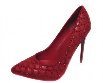 Дамски елегантни обувки еко велур/еко кожа червени FHOC-20821