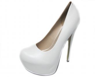 Дамски елегантни обувки еко кожа бели GLHW-20826