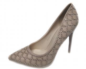 Дамски елегантни обувки еко велур бежови EHJN-20836