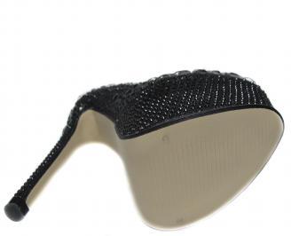Дамски елегантни обувки на ток еко кожа черни GHBI-20839