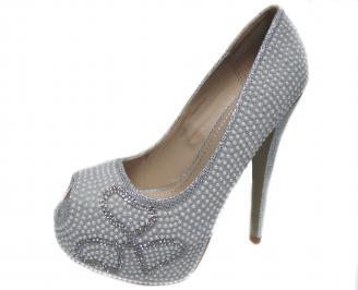 Дамски елегантни обувки еко кожа сребристи UYNU-20982