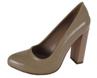 Дамски елегантни обувки еко кожа/лак бежови CVZZ-21158