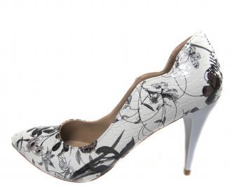 Дамски елегантни обувки еко кожа бяло/черно PWYU-21225