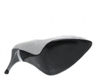 Дамски елегантни обувки еко кожа сребристи SGGK-21226