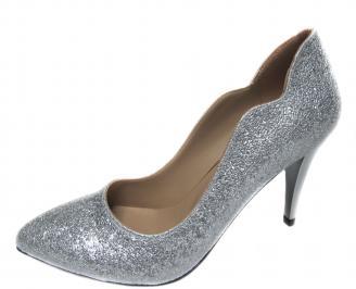 Дамски елегантни обувки еко кожа сребристи AOWR-21235