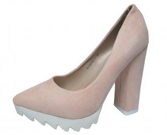 Дамски елегантни обувки еко велур бежови QEHB-21381