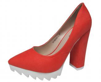 Дамски елегантни обувки еко велур корал AKTB-21382