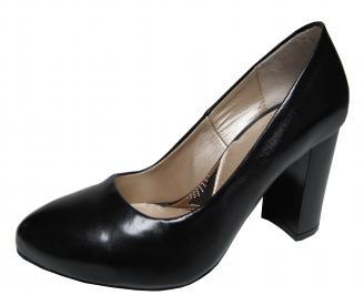 Дамски елегантни обувки естествена кожа черни VCNG-21389