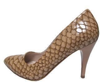 Дамски елегантни обувки еко кожа бежови OWGS-21399
