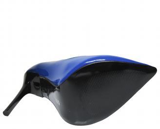 Дамски елегантни обувки еко кожа/лак тъмно сини XTBA-21423