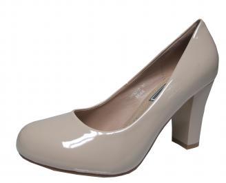 Дамски елегантни обувки еко кожа/лак бежови VMBZ-21488