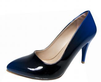 Дамски елегантни обувки еко кожа/лак тъмно сини OCRK-21586