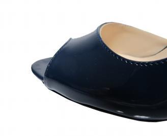 Дамски елегантни обувки еко кожа/лак тъмно сини QMFN-21809