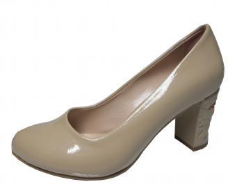 Дамски елегантни обувки еко кожа/лак бежови IQDJ-21821