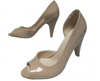 Дамски елегантни обувки еко кожа/лак бежови FAUK-21835