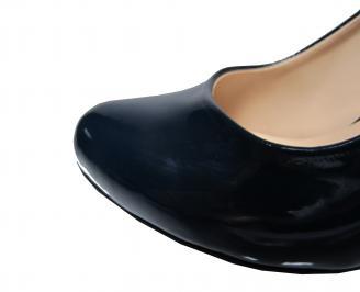 Дамски елегантни обувки еко кожа/лак тъмно сини BKOX-21839