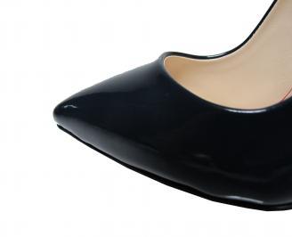 Дамски елегантни обувки еко кожа/лак тъмно сини 4