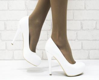Дамски елегантни обувки еко кожа бели EFJW-21886