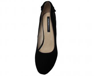 Дамски елегантни обувки естествен набук черни QFJX-22146