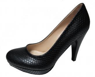 Дамски елегантни обувки еко кожа черни WSQV-22272