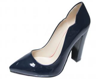 Дамски елегантни обувки еко кожа/лак тъмно синьо CQVG-22298