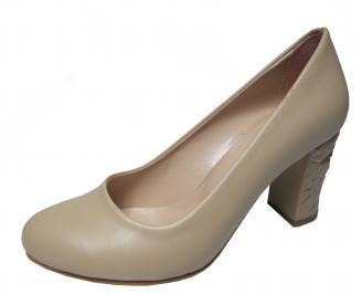 Дамски елегантни обувки еко кожа бежови UIXO-22302