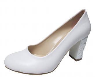 Дамски елегантни обувки еко кожа бели QDNH-22312