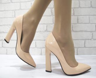 Дамски елегантни обувки еко кожа/лак корал LUJN-22902