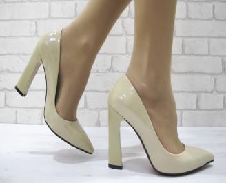 Дамски елегантни обувки еко кожа/лак бежови SLHQ-22903