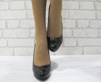 Дамски елегантни обувки еко кожа/лак черни SZLU-22983