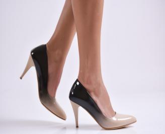 Дамски елегантни обувки еко кожа/лак бежови PEID-22985