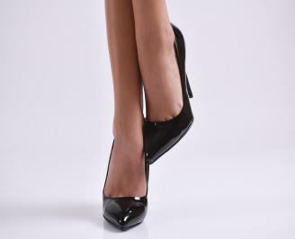 Дамски елегантни обувки еко кожа/лак черни LYXK-22987