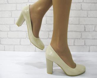 Дамски елегантни обувки еко кожа/лак бежови PNLF-22989