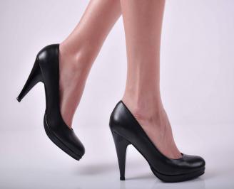 Дамски елегантни обувки на ток еко кожа черни UPOE-22993