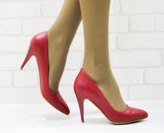 Дамски елегантни обувки на ток еко кожа червени CQFT-22998