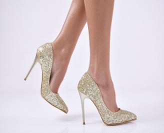 Дамски елегантни обувки на ток златисти еко кожа IVFQ-23005