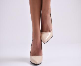 Дамски елегантни обувки на ток  еко кожа/лак бежови IEWX-23007