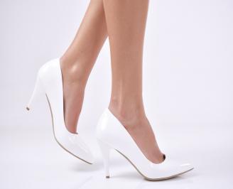 Дамски елегантни обувки еко кожа/лак бели HDQB-23009