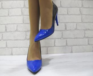 Дамски елегантни обувки на ток  еко кожа/лак тъмно сини UAKY-23010