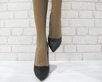 Дамски елегантни обувки на ток черни еко кожа FUSL-23024