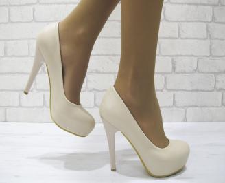 Дамски елегантни обувки еко кожа бежови QLEH-23026