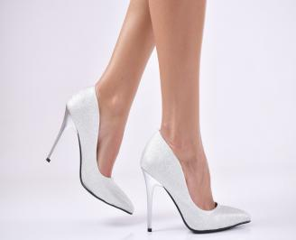 Дамски елегантни обувки на ток сребристи еко кожа DDQV-23035