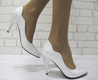 Дамски елегантни обувки на ток сребристи еко кожа WRTF-23037