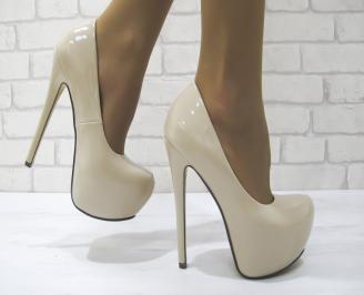 Дамски елегантни обувки еко кожа/лак  бежови KPSR-23088