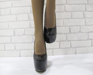 Дамски елегантни обувки еко кожа/лак черни LVWY-23093