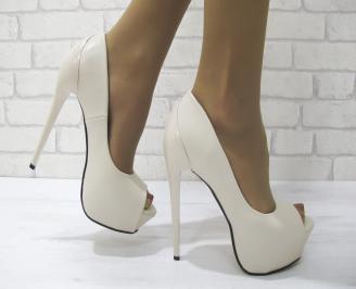 Дамски елегантни обувки еко кожа  бежови HGKN-23095
