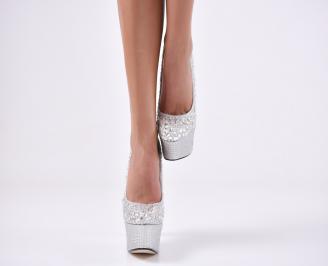 Дамски елегантни обувки текстил  сребристи RHWK-23096